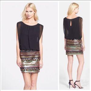 AIDAN MATTOX sheer black sequin skirt dress Sz 6